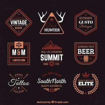 badges vintage dans le style plat
