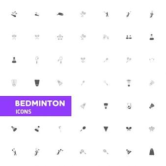 Badminton icon set