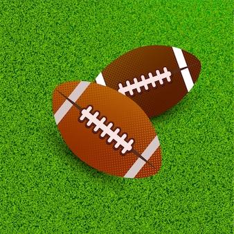 Balle de rugby sur le terrain