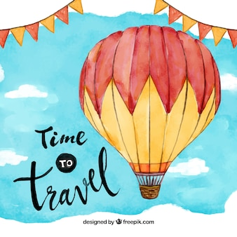 Balloon travel aquarelle background