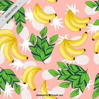 Banane et ananas avec des feuilles motif