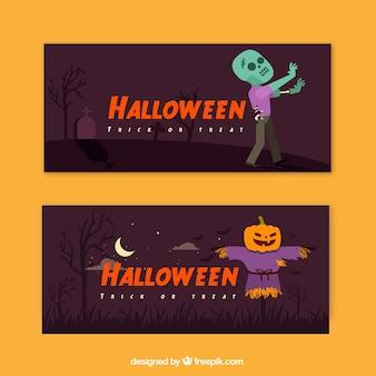Bandeaux d'Halloween avec zombies et épouvantail