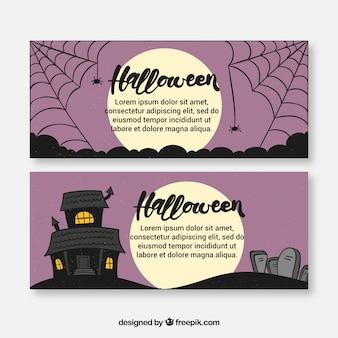 Banderoles effrayantes d'Halloween avec pleine lune