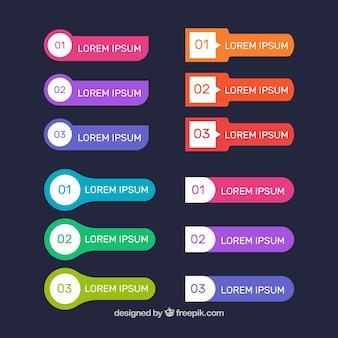Bandes infographiques colorées