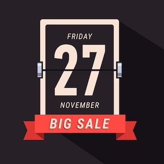 Bannière Black Friday Sale, page de calendrier flipping