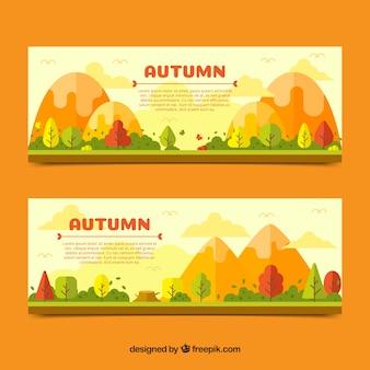 Bannière d'automne avec paysage