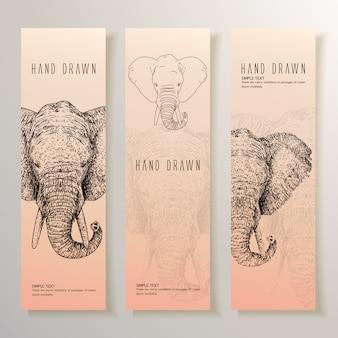 Bannière d'éléphants dessinée à la main