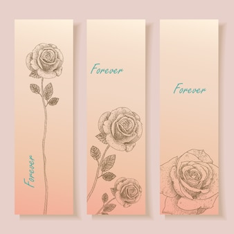 Bannière de fleurs dessinées à la main