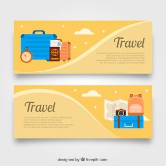 Bannière de voyage à design plat