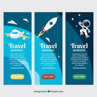 Bannière de voyage avec avion, fusée et astronaute