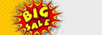 Bannière des médias sociaux Big Sale dans le style pop art.
