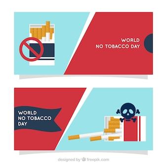 Bannière du monde sans journal du tabac avec signe d'interdiction et crâne