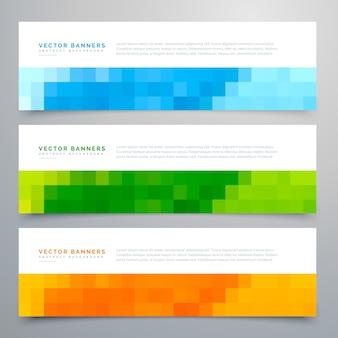 Bannière mosaïque colorée ensemble de trois