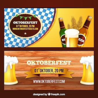 Bannière Oktoberfest avec des bières