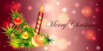 Bannière pour Noël et nouvel an avec des éléments décoratifs