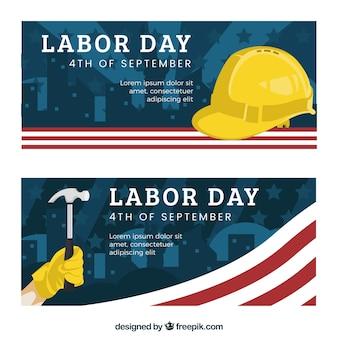 Bannières américaines du jour du travail avec marteau et casque