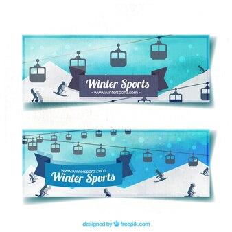 Bannières Aquarelle avec les voitures et les skieurs câble