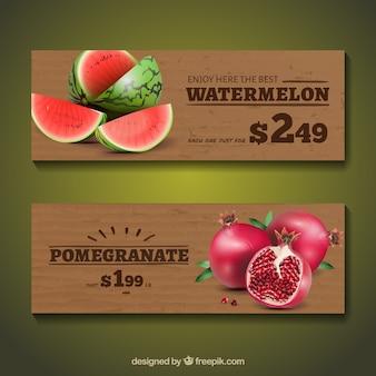 Bannières aux fruits en style réaliste