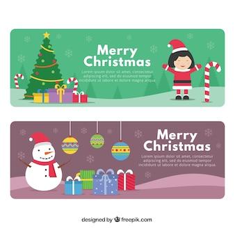 Bannières avec de gentils personnages de Noël