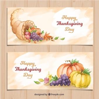 Bannières avec des éléments de thanksgiving aquarelle