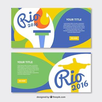 Bannières avec des formes ondulées pour les jeux olympiques