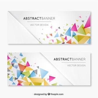 Bannières avec des triangles de couleur