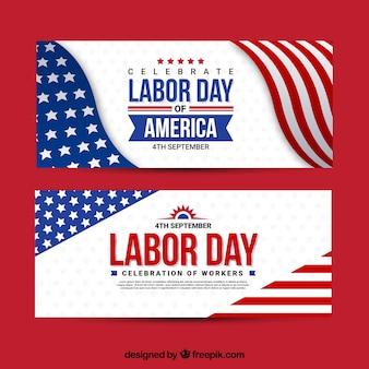 Bannières avec la bannière du jour du travail américain