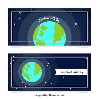 Bannières bleu foncé avec de la terre mère dans la conception plate