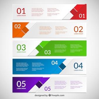 Bannières colorées abstraites pour infographie