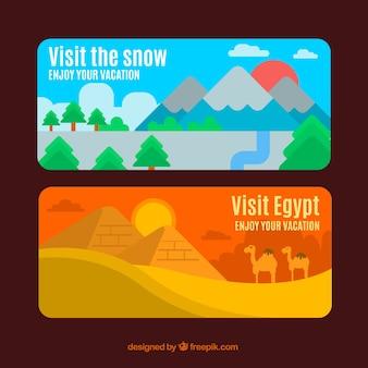 Bannières colorées de paysages différents