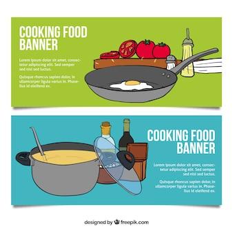 Bannières cuisson des aliments dessinés à la main