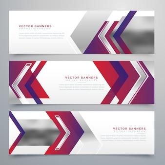 Bannières d'affaires ensemble de conception moderne de trois