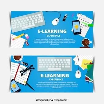Bannières d'apprentissage en ligne avec des objets déco