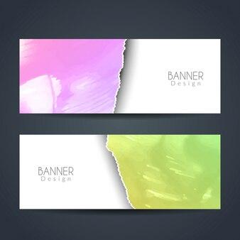 Bannières d'aquarelle à style de papier déchiré