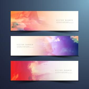 Bannières d'aquarelle abstraites et colorées