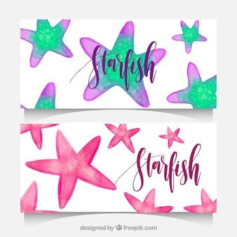 Bannières d'aquarelle avec des étoiles de mer