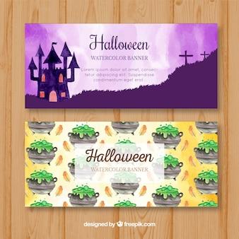 Bannières d'aquarelle halloween