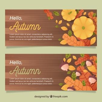 Bannières d'automne avec citrouille, glands et feuilles