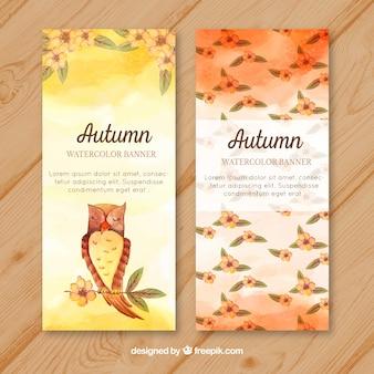 Bannières d'automne avec des fleurs et des hiboux