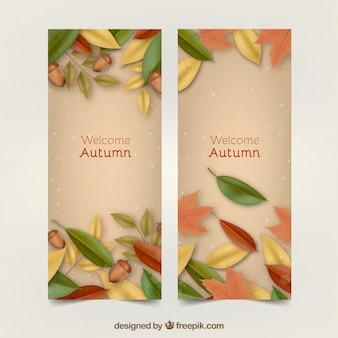 Bannières d'automne avec style réaliste