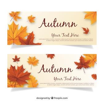 Bannières d'automne modernes avec des feuilles réalistes