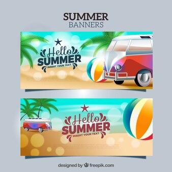 Bannières d'été Bokeh avec des éléments réalistes