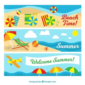 Bannières d'été sur la plage