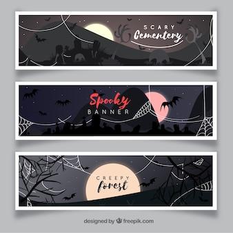 Bannières d'Halloween avec cimetière