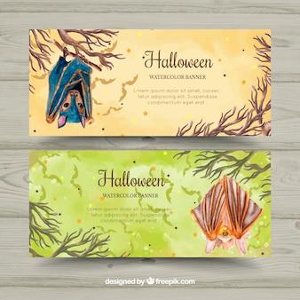 Bannières d'Halloween avec des chauves-souris à l'aquarelle