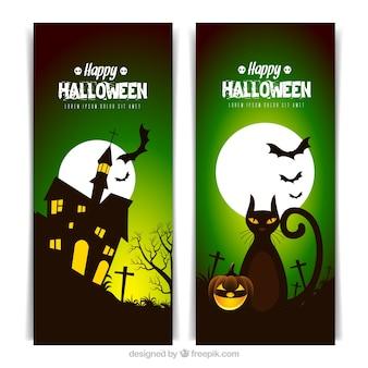 Bannières d'Halloween avec pleine lune