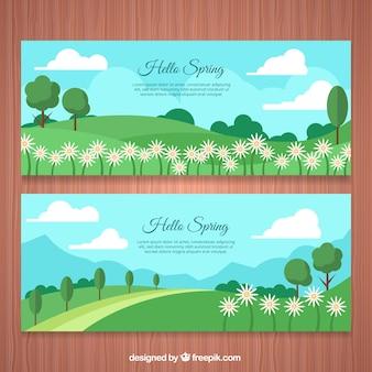 Bannières de beaux paysages de printemps