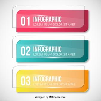 Bannières de cristal pour infographie