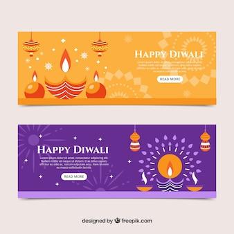 Bannières de diwali orange et violet