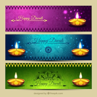 bannières de Diwali vives